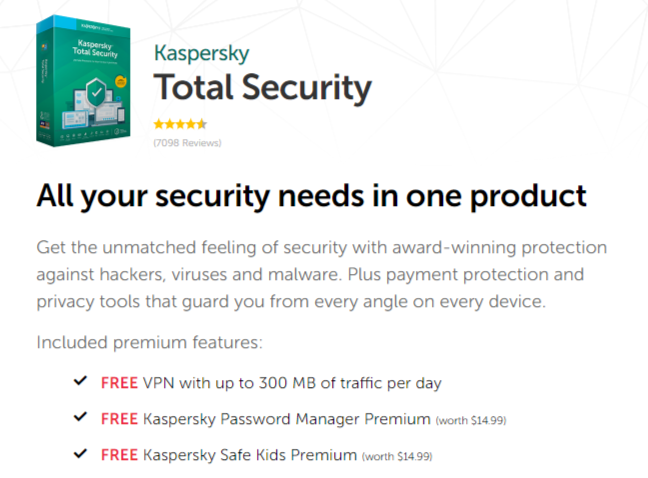 Features of Kaspersky Total Security